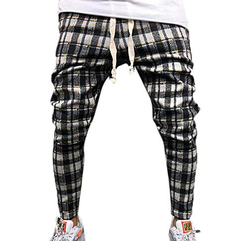 Pantalones Casuales Tela Escocesa Moda Hombres