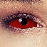 Designlenses Sclera Lenti a Contatto Colorate Rosse Totalmente 22 Millimetri Lenti in Rosso Occhio Pieno Senza diottrie + Gratis Caso di Lenti Modello Red Witch
