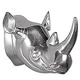 Wohnling Design Deko Nashorn-Kopf, 27 x 22 x 13 cm Silberfarben aus Aluminium, Alu Wand-Dekoration Nashorn Geweih, Geschenk-Idee Wilde Tiere