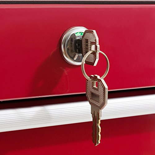 Arebos Werkstattwagen 7 Fächer/zentral abschließbar/Anti-Rutschbeschichtung/Räder mit Festellbremse/Massives Metall/rot, blau oder schwarz (Rot) - 6