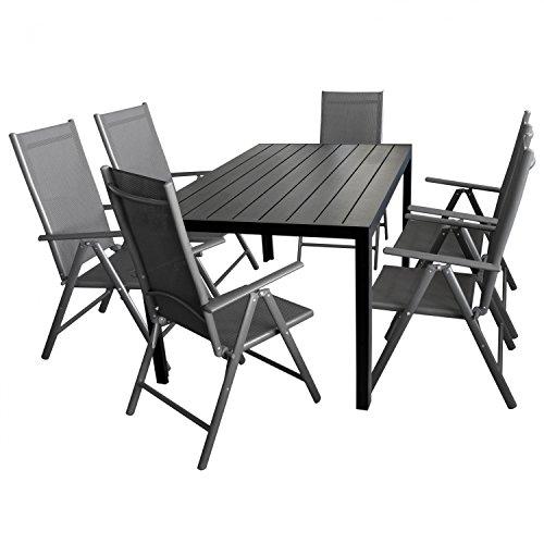 7tlg. Gartengarnitur Gartenmöbel Terrassenmöbel Set Sitzgruppe Aluminium Gartentisch Polywood 150x90cm + 6x Hochlehner 2x2 Textilen