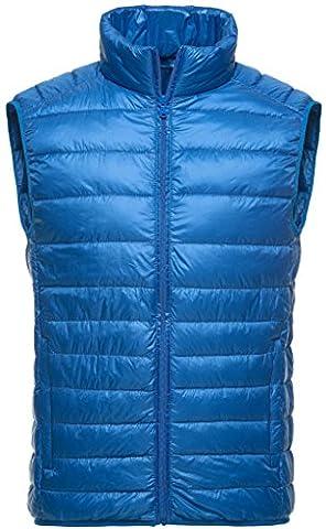 Sawadikaa Homme Ultra Légère Doudoune Sans Manche Gilet Veste Manteau Zippée Hiver pour Blouson Bleu Ciel Small