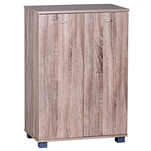 FineBuy Design Schuhschrank TANJA modern Holz Sonoma 12 Paar Schuhe 4 Fächer 2 Türen | Schuhregal 60 x 90 x 35 cm platzsparend | Schuhkommode Flurschrank mit Ablage