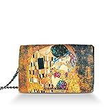 Alviero Rodriguez Borsa Donna Bacio Di Klimt Quadro Arte in Vera Pelle (Catena Nera)