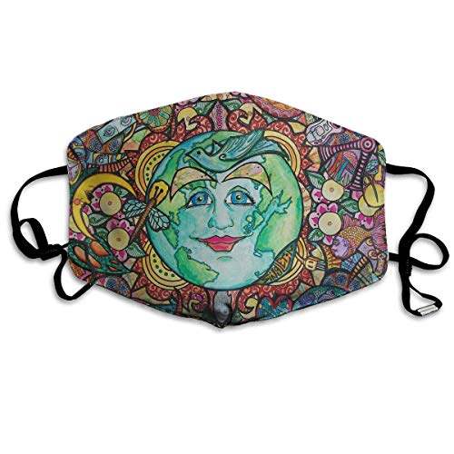 Price comparison product image Monicago Unisex Unique Mouth Mask,  Face Mask,  Artistic Earth Face Illustration Polyester Anti-dust Masks - Fashion Washed Reusable Face Mask for Outdoor Cycling