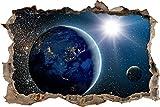 Pixxprint 3D_WD_S2464_92x62 Planeten im Weltall Wanddurchbruch 3D Wandtattoo, Vinyl, bunt, 92 x 62 x 0,02 cm