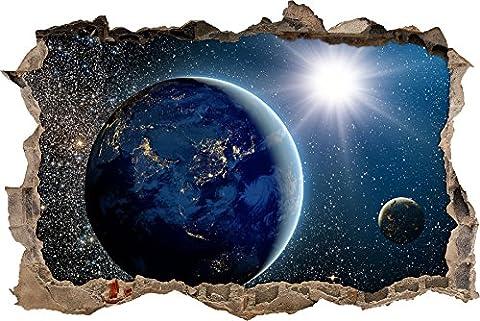 Pixxprint 3D_WD_S2464_62x42 Planeten im Weltall Wanddurchbruch 3D Wandtattoo, Vinyl, bunt, 62 x 42 x 0,02 (Usa Zu Weihnachten)