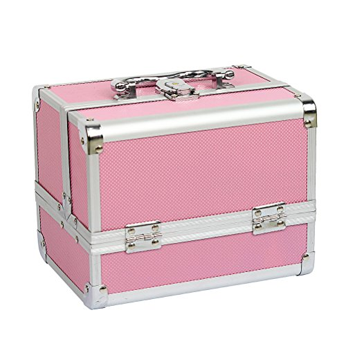 Es una maletin muy practica para organizar las maquillaje y joyas Detalles: Material:aleación de aluminio Dimensiones:20.5*15.5*16.2cm Peso neto:1119g Color:rosa