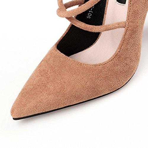 FLYRCX Autunno e Inverno moda europea Strappy appuntita sexy tacchi spesso con semplice lady scarpe di partito D