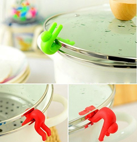 5 PCS Creative Kitchen Lid Lifter, Spill-proof Pot Silicone Lid Stand for Soup Pot, Kitchen Gadget Pot Spill-proof Lid Stand Heat Resistant Holder