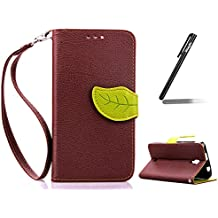 Funda para Wiko Bloom, Wiko Bloom Folio Funda de cuero PU la hoja del árbol Carcasa, Wiko Bloom billetera Funda Stand Carcasa, Wiko Bloom Leather Case Wallet Flip Cover Skin Shell, Ukayfe Cubierta de la caja Funda protectora de cuero caso del soporte billetera Funda Carcasa con Stand Función y Imán Incorporado para Wiko Bloom + 1 X Stylus Pen