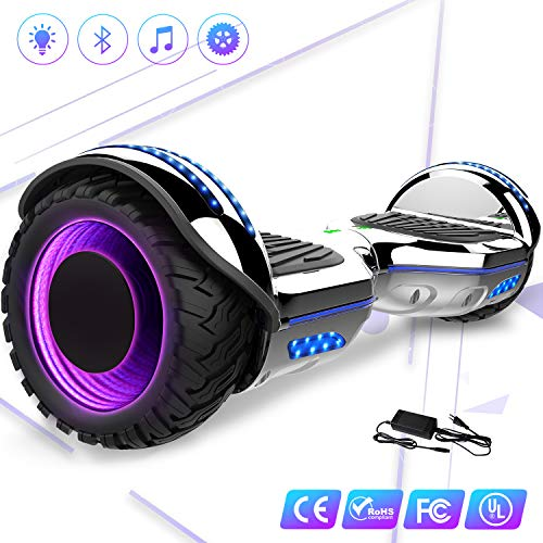 Mega Motion 6,5 Zoll Hoverboard - Selbstabgleich Elektroroller - mit RGB LED auf Rädern - LED-Zelt - Bluetooth - Lautsprecher und APP - 700W Motor - Gyropod Modell EL-ES01