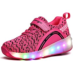 Unisex Enfants Chaussures à Skates LED Clignotante Roue Unique Bouton Poussoir Ajustable Patins à roulettes Course à Pied Sneakers pour Garçons Filles
