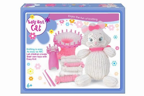 bambini-facile-knitting-gatto-bianco-teddy-riutilizzabile-starter-kit-grande-presente