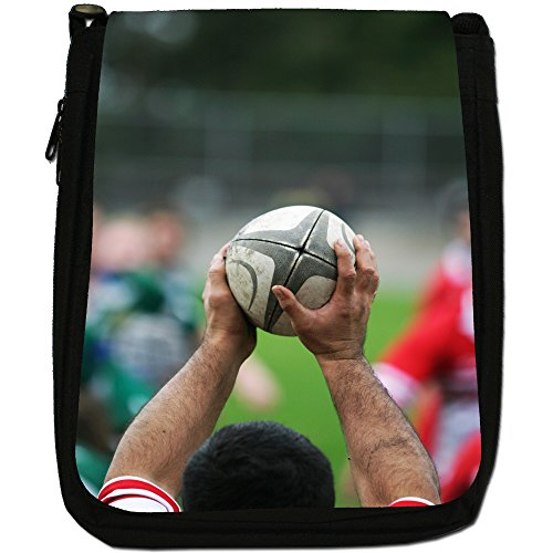 Kit di palla da rugby Coppa del Mondo di squadra Medium Nero Borsa In Tela, taglia M Ready For Throw In During Game
