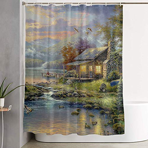 IconSymbol Mountain Jungle with House Small River Tree and Wild Animal, Mildew Resistant Fabric Bathroom Decor Shower Curtain 60x72inch Multicolor Waterproof Fabric Bathroom Accessories