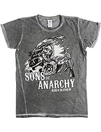 Officiellement Sous Licence Sons Of Anarchy - SOA AK Reaper Urban Coupe Slim Hommes T-Shirt (Gris)