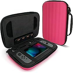 igadgitz Rosa EVA Borsa Custodia Rigida da Viaggio per Nintendo Switch Case Cover con Interno Antiurto & Maniglia