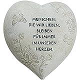 COM-FOUR Deko Herz Menschen, die wir lieben, in Steinoptik, als Grabschmuck, ca. 15 x 15 x 9 cm