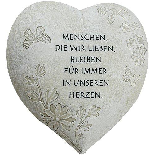 com-four® Deko Herz Menschen, die wir lieben, in Steinoptik, als Grabschmuck, 20,5 x 20 x 11,5 cm (01 Stück - Spruch 3)