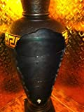 Barvitrine Bar Vitrine Amphore Medusa Vase mit Licht Mäander Bodenvase Glasregal Schwarz-Gold /// 6851 K2+50 Regal mit Styl