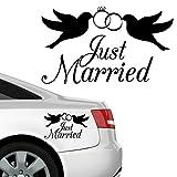 """Wandtattoo Loft Autoaufkleber """"Just Married""""+ Tauben mit Ringen / Fahrzeug - Aufkleber / 54 Farben / 2 Größen / weiß / 20 x 34 cm"""