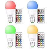 LED RGBW Lampe mit Fernbedienung | e27 farbwechsel led | 3W(ersetzt 20W) Dimmbare Birne mit RGB und Kaltweißem(5700 Kelvin) | 3W E27 RGB LED Birnen - Dual Memory | für ambiente Beleuchtung Party Deko(4-er Pack)
