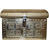 Neeti Arts German Silver Decorative Box (35.56 Cm X 26.67 Cm X 25.4 Cm, Silver)