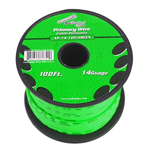 Audiopipe 14 Gauge 100Ft Primary Wire Green -