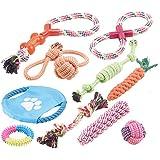 Sweetypet Wurfspiel für den Hund: 10er-Set Bunte Hundespielzeuge aus Baumwolle zum Kauen und Toben (Hunde-Spielzeugsets)