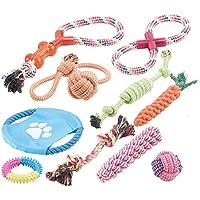Sweetypet Wurfspiel für Den Hund: 10er-Set Bunte Hundespielzeuge aus Baumwolle Zum Kauen und Toben (Hunde-Spielzeugset)