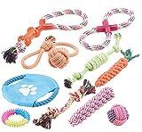 Sweetypet Wurfspiel für den Hund: 10er-Set Bunte Hundespielzeuge aus Baumwolle zum Kauen und Toben (Hunde-Spielset)