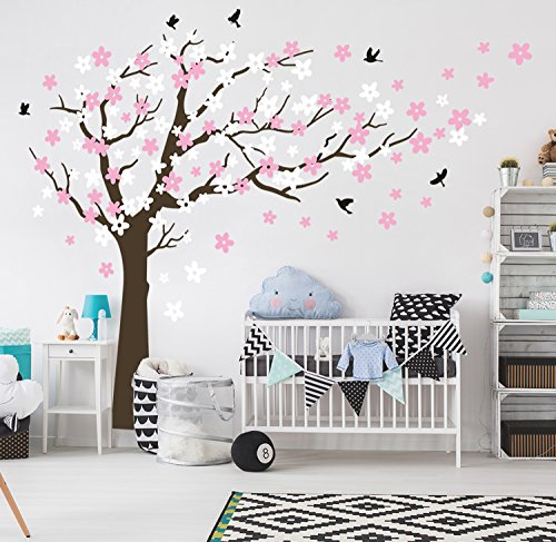 *Bdecoll Wandaufkleber Kirschbaum Weiß Baum Wandsticker für Kinder Schlafzimmer/ Natur Vögel Art Dekor Heim Bunt aufkleber,Aufkleber/Sticker,Vinyl, für Kinderzimmer (Brown)*
