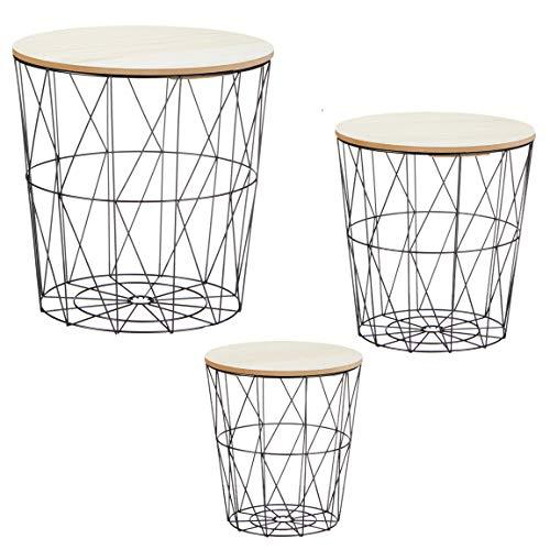 Bada Bing 3er Set Metall Korb Beistelltisch Metallkorb Couchtisch Kaffeetisch Wohnzimmertisch Modern Rund Holz Design Tisch 3 Größen 98 -