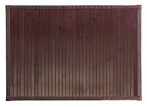 mDesign Alfombra para baño de madera - Alfombra de bambu oscuro impermeable - Alfombra antideslizante para colocar al lado de la bañera, ducha o en la cocina - Tamaño 43,18 cm x 60,96 cm