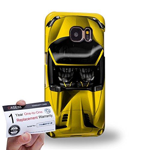 Case88 [Samsung Galaxy S7] 3D Hülle / Schutzhülle & Garantiekarte - Art Design Yellow Sport Car