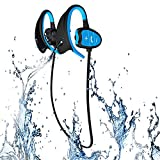 Imperméable à l'eau Bluetooth Sport Casque sans fil IPX8 Casque CSR Écouteurs stéréo Sweatproof Suit pour l'exercice BT4.1Bluetooth Écouteurs avec micro (bleu)