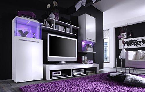 Wohnwand weiss mit LED Farbwechsel – 228 cm - 2
