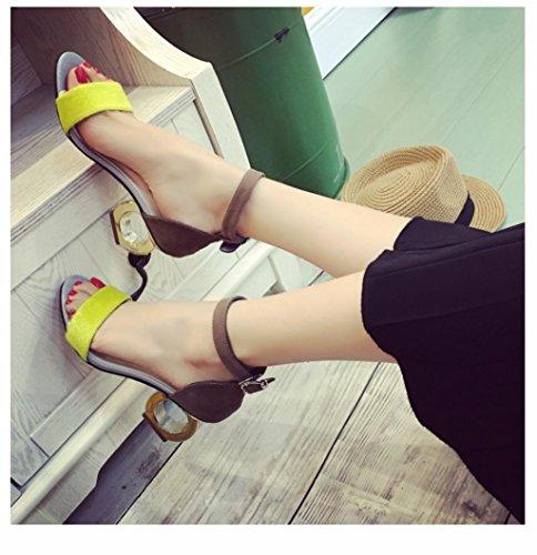 WZG Frau Sommer Sandalen Frau Fersen Fersen runde Persönlichkeit lässig Sandalen Yellow
