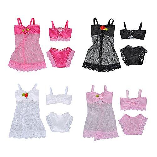 4 Sets Colores Surtidos Moda Chica Muñeca de Juguete Playa de Verano Bikini Trajes de Baño Accesorios de Ropa para Barbie Juguetes Niños Niñas Regalo de Navidad de Cumpleaños