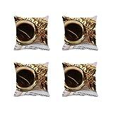 meSleep Be Happy 3D Kissenbezug Set von 4PCS Gelb Deko Zimmerbrunnen Sofa Überwurf Quadratisch Kissen Fall 30,5cm 40,6cm 45,7cm 50,8cm 55,9cm Art Deco 22