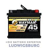 WAYMAN AUTOBATTERIE - W45 - 12V 45AH 400A  - ersetzt 36AH 40AH 43AH 46AH