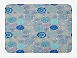 VYPHN Doodle Bath Mat, Abstract Snowflakes with Beige Background Winter Celebration Theme Christmas, Plush Bathroom Decor Mat with Non Slip Backing, 15.7X23.6 inch, Beige Aqua Blue
