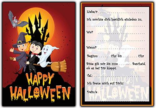 karten Kindergeburtstag Jungen Mädchen - 8 Stück Halloweenparty Party Gesit Geister Gespenst Hexe Gruselig Helloween Besen Vollmond ()