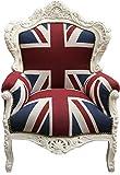 Casa Padrino Barock Sessel 'King' Union Jack/Creme- Möbel Antik Stil- Englische Flagge