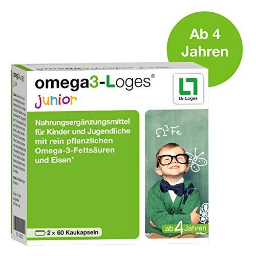 omega3-Loges junior Nahrungsergänzungsmittel für Kinder - 120 Kaukapseln, unterstützt die Konzentration und Lernfähigkeit von Kindern