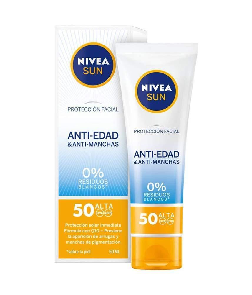 Nivea Sun – Crema Solar Facial Antiedad Antimanchas FP50, Protección UV Alta – 50 ml