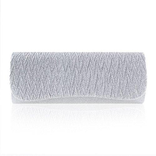 Damara® Glänzende Paillette Damen Partys Handtaschen Mit Magnet Silber