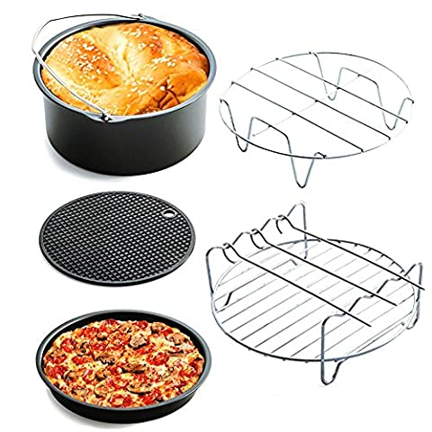 Home Air Fryer Accessories Kit of 5, Baking Basket, Pizza Plate, Grill, Pot Pad, Pot Rack, Large Capacity, Fit All Air Fryer with More than 3.0L Capacity, by