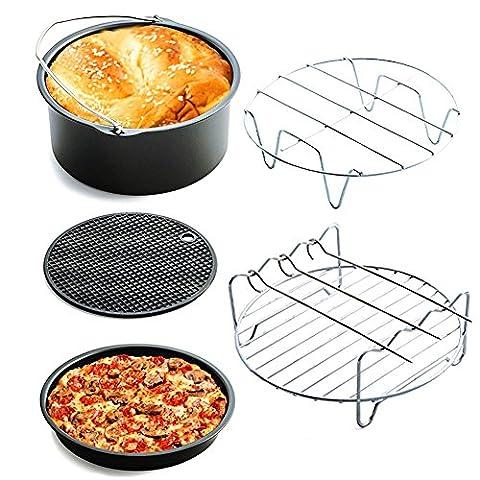 Home Air Fryer Accessoires Kit de 5, panier de boulangerie, assiette à pizza, gril, coussin de pot, pot rack, grande capacité, ajuster toutes les friteuses avec plus de 3.0L de capacité, par Longju